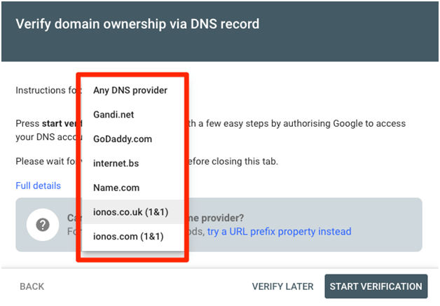 Domain Verifcation In Search Console