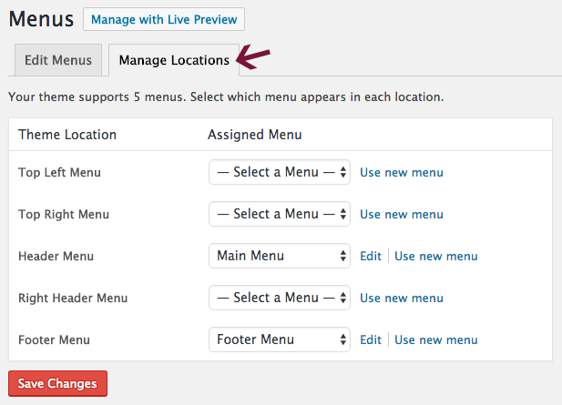 Choose where you want to display the menu by checking the appropriate box in Menu Settings.
